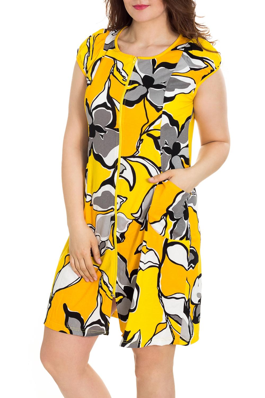 ХалатХалаты<br>Цветной халат с застежкой на молнию. Домашняя одежда, прежде всего, должна быть удобной, практичной и красивой. В наших изделиях Вы будете чувствовать себя комфортно, особенно, по вечерам после трудового дня.  Цвет: желтый, серый  Рост девушки-фотомодели 180 см<br><br>Горловина: С- горловина<br>По рисунку: Цветные,С принтом<br>По элементам: С карманами,С молнией<br>Рукав: Короткий рукав<br>По сезону: Всесезон<br>По длине: Ниже колена<br>По материалу: Трикотаж,Хлопок<br>Размер : 46,48,50,54,56<br>Материал: Трикотаж<br>Количество в наличии: 75