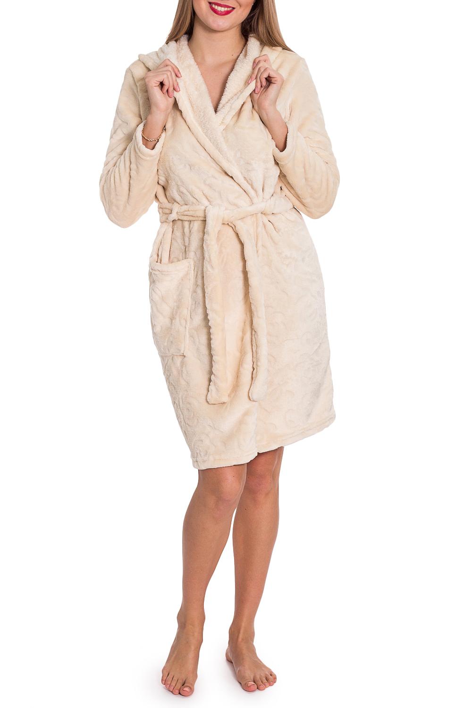 ХалатХалаты<br>Чудесный халат на запах. Домашняя одежда, прежде всего, должна быть удобной, практичной и красивой. В халате Вы будете чувствовать себя комфортно, особенно, по вечерам после трудового дня. Халат без пояса.  Цвет: бежевый  Рост девушки-фотомодели 170 см<br><br>Воротник: Шалька<br>Горловина: V- горловина,Запах<br>По длине: До колена<br>По материалу: Велсофт<br>По рисунку: Однотонные<br>По элементам: С карманами<br>Рукав: Длинный рукав<br>По сезону: Всесезон<br>Размер : 46,50,52<br>Материал: Велсофт<br>Количество в наличии: 3