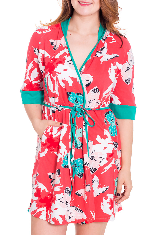 ХалатХалаты<br>Женский халат на запах с короткими рукавами до локтя. Домашняя одежда, прежде всего, должна быть удобной, практичной и красивой. В халате Вы будете чувствовать себя комфортно, особенно, по вечерам после трудового дня.  Цвет: коралловый, белый, бирюзовый  Рост девушки-фотомодели 180 см<br><br>Горловина: V- горловина,Запах<br>По рисунку: Бабочки,Цветные,С принтом<br>По силуэту: Полуприталенные<br>По элементам: С запахом,С поясом<br>Рукав: Рукав три четверти<br>По сезону: Осень,Весна<br>По длине: До колена<br>По материалу: Трикотаж,Хлопок<br>Размер : 42,46,48<br>Материал: Хлопок<br>Количество в наличии: 4