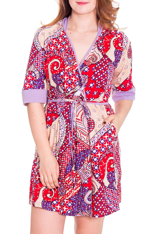 ХалатХалаты<br>Женский халат на запах с короткими рукавами до локтя. Домашняя одежда, прежде всего, должна быть удобной, практичной и красивой. В халате Вы будете чувствовать себя комфортно, особенно, по вечерам после трудового дня.  Цвет: красный, белый, сиреневый  Рост девушки-фотомодели 180 см<br><br>Горловина: V- горловина,Запах<br>По рисунку: Абстракция,Цветные<br>По силуэту: Полуприталенные<br>По элементам: С запахом,С поясом<br>Рукав: Рукав три четверти<br>По сезону: Осень,Весна<br>По длине: До колена<br>По материалу: Трикотаж,Хлопок<br>Размер : 42,50<br>Материал: Хлопок<br>Количество в наличии: 4