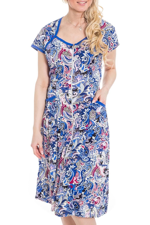 ХалатХалаты<br>Хлопковый халат с застежкой на молнию. Домашняя одежда, прежде всего, должна быть удобной, практичной и красивой. В халате Вы будете чувствовать себя комфортно, особенно, по вечерам после трудового дня.  Цвет: голубой, синий, розовый  Рост девушки-фотомодели 170 см<br><br>По рисунку: Леопард,Растительные мотивы,Цветные,С принтом<br>По силуэту: Полуприталенные<br>По элементам: С карманами,С молнией<br>Рукав: Короткий рукав<br>По сезону: Осень,Весна<br>По длине: Ниже колена<br>По материалу: Трикотаж,Хлопок<br>Размер : 44,46<br>Материал: Трикотаж<br>Количество в наличии: 3