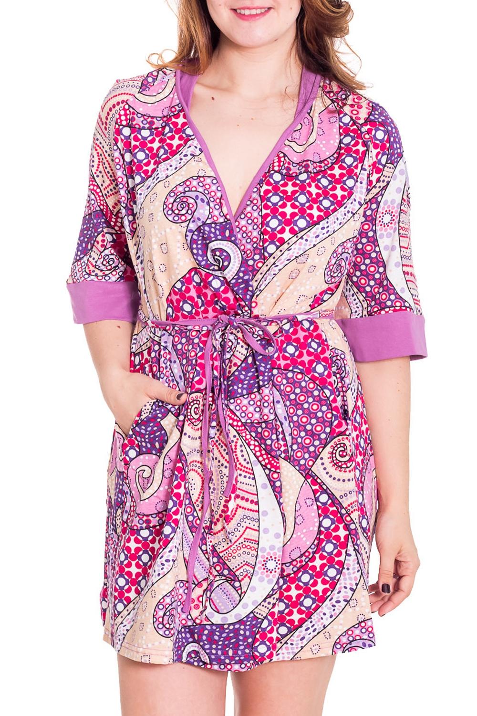 ХалатХалаты<br>Женский халат на запах с короткими рукавами до локтя. Домашняя одежда, прежде всего, должна быть удобной, практичной и красивой. В халате Вы будете чувствовать себя комфортно, особенно, по вечерам после трудового дня. Пояс в комплект не входит  Цвет: сиреневый, красный, белый  Рост девушки-фотомодели 180 см<br><br>Горловина: V- горловина,Запах<br>По рисунку: Цветные,С принтом<br>По силуэту: Полуприталенные<br>Рукав: Рукав три четверти<br>По сезону: Осень,Весна<br>По материалу: Хлопок<br>По длине: До колена<br>Размер : 44,46<br>Материал: Хлопок<br>Количество в наличии: 2