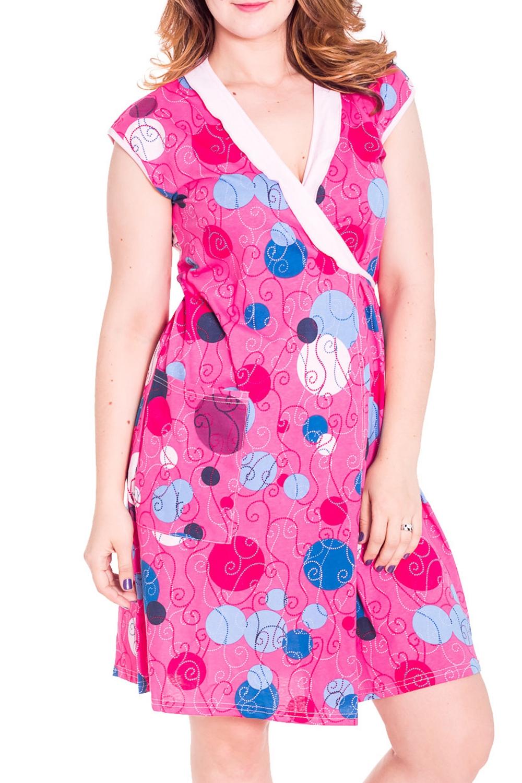 ХалатХалаты<br>Женский халат на запах с короткими рукавами. Домашняя одежда, прежде всего, должна быть удобной, практичной и красивой. В халате Вы будете чувствовать себя комфортно, особенно, по вечерам после трудового дня.  Цвет: розовый, голубой, белый  Рост девушки-фотомодели 180 см<br><br>Горловина: V- горловина,Запах<br>По рисунку: В горошек,Цветные,С принтом<br>По силуэту: Полуприталенные<br>По элементам: С запахом,С карманами<br>Рукав: Короткий рукав<br>По сезону: Осень,Весна<br>По длине: До колена<br>По материалу: Трикотаж,Хлопок<br>Размер : 50<br>Материал: Хлопок<br>Количество в наличии: 1