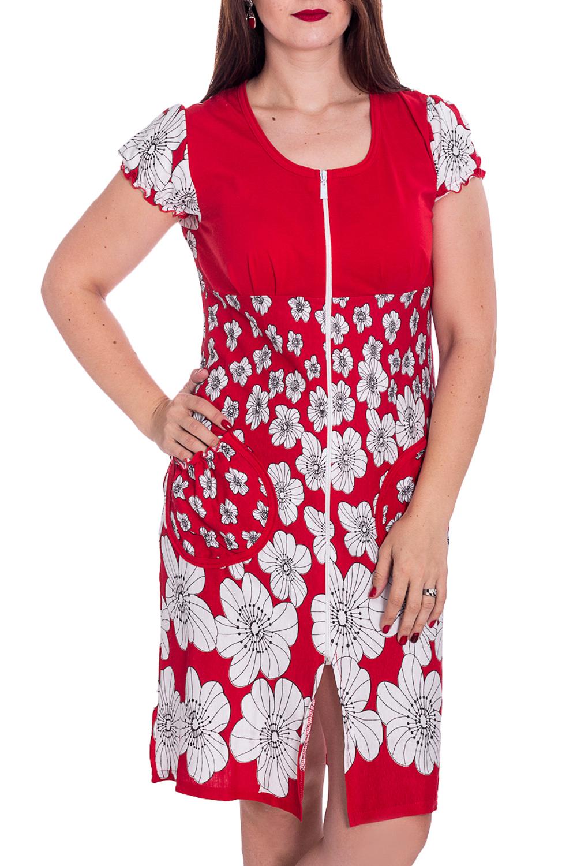 ХалатХалаты<br>Хлопковый халат с застежкой на молнию. Домашняя одежда, прежде всего, должна быть удобной, практичной и красивой. В халате Вы будете чувствовать себя комфортно, особенно, по вечерам после трудового дня.  В изделии использованы цвета: красный, белый и др.  Рост девушки-фотомодели 180 см<br><br>Горловина: С- горловина<br>По длине: До колена<br>По материалу: Хлопок<br>По рисунку: Растительные мотивы,С принтом,Цветные,Цветочные<br>По элементам: С карманами,С молнией<br>Рукав: Короткий рукав<br>По сезону: Всесезон<br>Размер : 48<br>Материал: Хлопок<br>Количество в наличии: 1