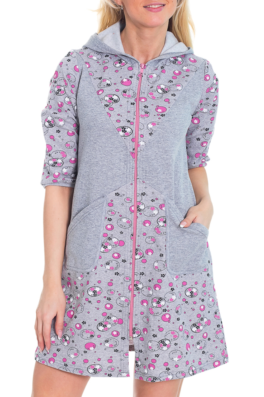 ХалатХалаты<br>Женский халат с застежкой на молнию и рукавами до локтя. Домашняя одежда, прежде всего, должна быть удобной, практичной и красивой. В халате Вы будете чувствовать себя комфортно, особенно, по вечерам после трудового дня.  Цвет: серый, розовый  Рост девушки-фотомодели 170 см<br><br>По рисунку: Цветные,В горошек,С принтом<br>По силуэту: Полуприталенные<br>По элементам: С капюшоном,С карманами,С молнией<br>Рукав: Рукав три четверти<br>По сезону: Осень,Весна<br>По длине: Миди,Ниже колена<br>По материалу: Трикотаж,Хлопок<br>Размер : 44,52<br>Материал: Трикотаж<br>Количество в наличии: 2