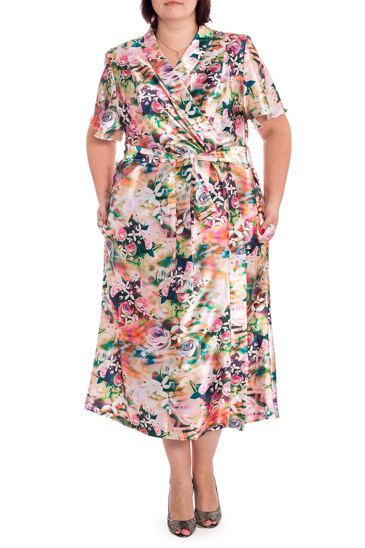 ХалатХалаты<br>Шелковый халат на запах. Домашняя одежда, прежде всего, должна быть удобной, практичной и красивой. В нашей домашней одежде Вы будете чувствовать себя комфортно, особенно, по вечерам после трудового дня. Халат без пояса.  В изделии использованы цвета: бежевый, розовый и др.  Рост девушки-фотомодели 176 см<br><br>Горловина: V- горловина,Запах<br>По длине: Ниже колена<br>По материалу: Шелк<br>По рисунку: Растительные мотивы,С принтом,Цветные,Цветочные<br>Рукав: Короткий рукав<br>По сезону: Всесезон<br>Размер : 60,62,64<br>Материал: Искусственный шелк<br>Количество в наличии: 3