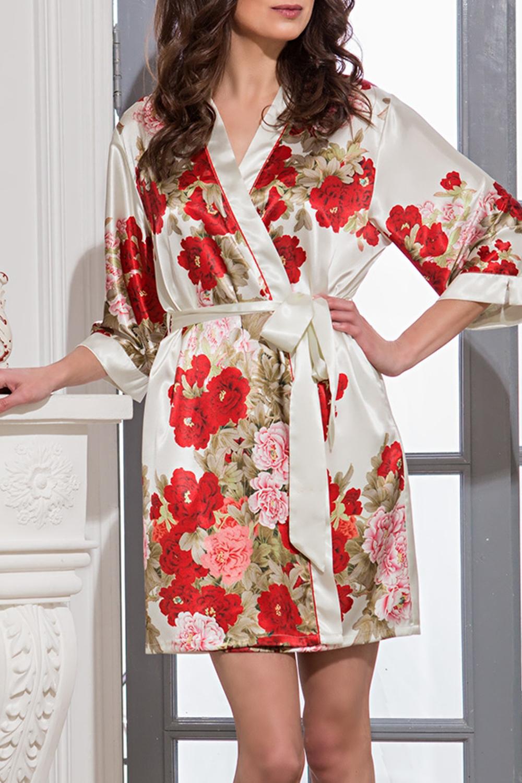КимоноХалаты<br>Короткий классический халат–кимоно выполнен из искусственного шелка с купонным принтом расположенным по полочкам и рукавам.  По краям бортов проходит контрастный кант. По бокам расположены карманы. Халат без пояса.  В изделии использованы цвета: кремовый, красный и др.  Ростовка изделия 170 см.<br><br>Горловина: V- горловина,Запах<br>По длине: До колена<br>По материалу: Шелк<br>По рисунку: Растительные мотивы,С принтом,Цветные,Цветочные<br>По силуэту: Полуприталенные<br>Рукав: Рукав три четверти<br>По сезону: Всесезон<br>Размер : 44-46,48-50<br>Материал: Искусственный шелк<br>Количество в наличии: 3