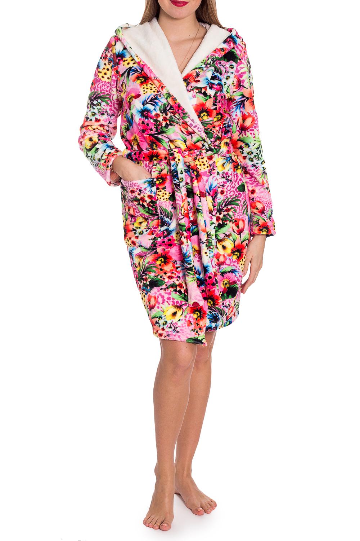 ХалатХалаты<br>Чудесный халат на запах. Домашняя одежда, прежде всего, должна быть удобной, практичной и красивой. В халате Вы будете чувствовать себя комфортно, особенно, по вечерам после трудового дня. Халат без пояса.  В изделии использованы цвета: розовый и др.  Рост девушки-фотомодели 170 см<br><br>Воротник: Шалька<br>Горловина: V- горловина,Запах<br>По длине: До колена<br>По материалу: Велсофт<br>По рисунку: Растительные мотивы,С принтом,Цветные,Цветочные<br>По силуэту: Полуприталенные<br>По элементам: С капюшоном,С карманами<br>Рукав: Длинный рукав<br>По сезону: Всесезон<br>Размер : 44,46,50,52<br>Материал: Велсофт<br>Количество в наличии: 4