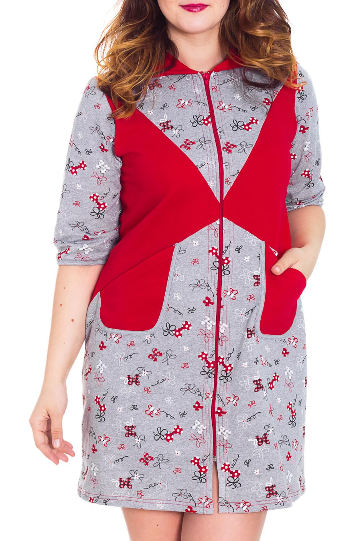 ХалатХалаты<br>Женский халат с застежкой на молнию и рукавами до локтя. Домашняя одежда, прежде всего, должна быть удобной, практичной и красивой. В халате Вы будете чувствовать себя комфортно, особенно, по вечерам после трудового дня.  Цвет: серый, красный  Рост девушки-фотомодели 180 см<br><br>По рисунку: Цветные,С принтом<br>По силуэту: Полуприталенные<br>По элементам: С карманами,С молнией,С капюшоном<br>Рукав: Рукав три четверти<br>По сезону: Осень,Весна<br>По длине: Ниже колена<br>По материалу: Трикотаж,Хлопок<br>Размер : 46,50<br>Материал: Трикотаж<br>Количество в наличии: 2