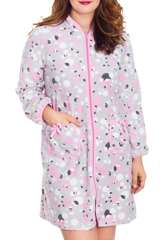 ХалатХалаты<br>Женский халат с застежкой на молнию и длинными рукавами. Домашняя одежда, прежде всего, должна быть удобной, практичной и красивой. В халате Вы будете чувствовать себя комфортно, особенно, по вечерам после трудового дня.  Цвет: серый, розовый, белый  Рост девушки-фотомодели 180 см<br><br>Воротник: Стойка<br>По рисунку: Цветные,В горошек,С принтом<br>По силуэту: Полуприталенные<br>По элементам: С карманами,С молнией<br>Рукав: Длинный рукав<br>По сезону: Осень,Весна<br>По материалу: Трикотаж,Хлопок<br>По длине: До колена<br>Размер : 50<br>Материал: Флис<br>Количество в наличии: 1
