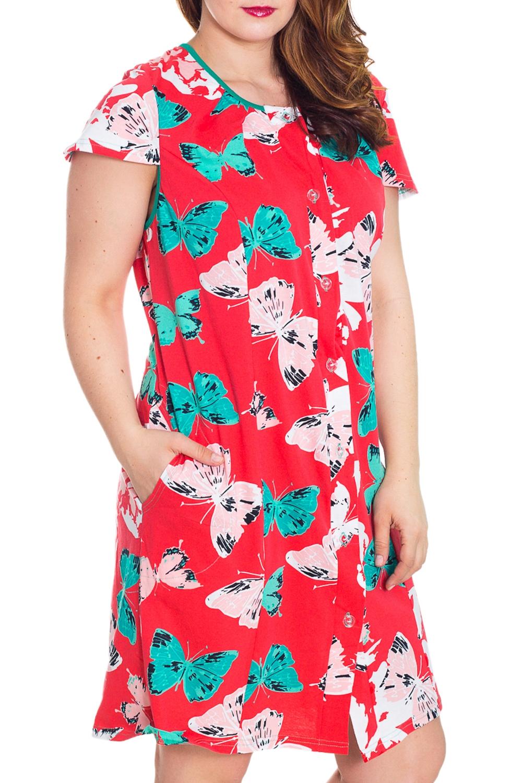 ХалатХалаты<br>Женский халат с короткими рукавам. Домашняя одежда, прежде всего, должна быть удобной, практичной и красивой. В халате Вы будете чувствовать себя комфортно, особенно, по вечерам после трудового дня.  Цвет: коралловый, белый, бирюзовый  Рост девушки-фотомодели 180 см<br><br>Горловина: С- горловина<br>По рисунку: Бабочки,Цветные,С принтом<br>По элементам: С карманами<br>Рукав: Короткий рукав<br>По сезону: Осень,Весна<br>По материалу: Трикотаж,Хлопок<br>По длине: До колена<br>Размер : 58,60<br>Материал: Трикотаж<br>Количество в наличии: 2