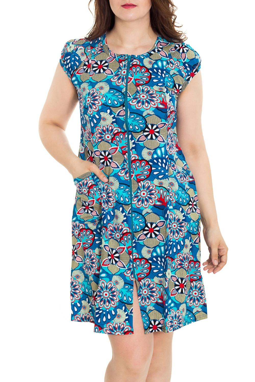 ХалатХалаты<br>Цветной халат с застежкой на молнию. Домашняя одежда, прежде всего, должна быть удобной, практичной и красивой. В наших изделиях Вы будете чувствовать себя комфортно, особенно, по вечерам после трудового дня.  Цвет: голубой, мультицвет  Рост девушки-фотомодели 180 см<br><br>Горловина: С- горловина<br>По рисунку: Цветные,С принтом<br>По силуэту: Полуприталенные<br>По элементам: С карманами,С молнией<br>Рукав: Короткий рукав<br>По сезону: Всесезон<br>По длине: Ниже колена<br>По материалу: Трикотаж,Хлопок<br>Размер : 46,48,50,56<br>Материал: Трикотаж<br>Количество в наличии: 32