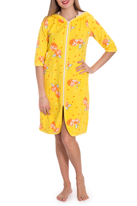 ХалатХалаты<br>Чудесный халат с застежкой на молнию. Домашняя одежда, прежде всего, должна быть удобной, практичной и красивой. В халате Вы будете чувствовать себя комфортно, особенно, по вечерам после трудового дня.  В изделии использованы цвета: желтый и др.  Рост девушки-фотомодели 170 см<br><br>По длине: До колена<br>По материалу: Махровые,Хлопок<br>По рисунку: Растительные мотивы,С принтом,Цветные,Цветочные<br>По силуэту: Полуприталенные<br>По элементам: С молнией<br>Рукав: До локтя<br>По сезону: Всесезон<br>Размер : 44,46,48<br>Материал: Махровое полотно<br>Количество в наличии: 3