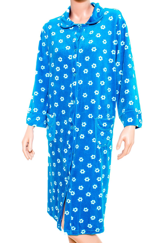 ХалатХалаты<br>Очаровательный женский халат. Домашняя одежда, прежде всего, должна быть удобной, практичной и красивой. В халате Вы будете чувствовать себя комфортно, особенно, по вечерам после трудового дня.  В изделии использованы цвета: голубой, белый.  Ростовка изделия 170 см.<br><br>Воротник: Отложной<br>По рисунку: Цветные,Цветочные,С принтом,Растительные мотивы<br>По силуэту: Полуприталенные<br>По элементам: С карманами<br>Рукав: Длинный рукав<br>По сезону: Всесезон<br>По материалу: Велюр,Хлопок<br>По длине: Ниже колена<br>Размер : 56<br>Материал: Велюр<br>Количество в наличии: 1