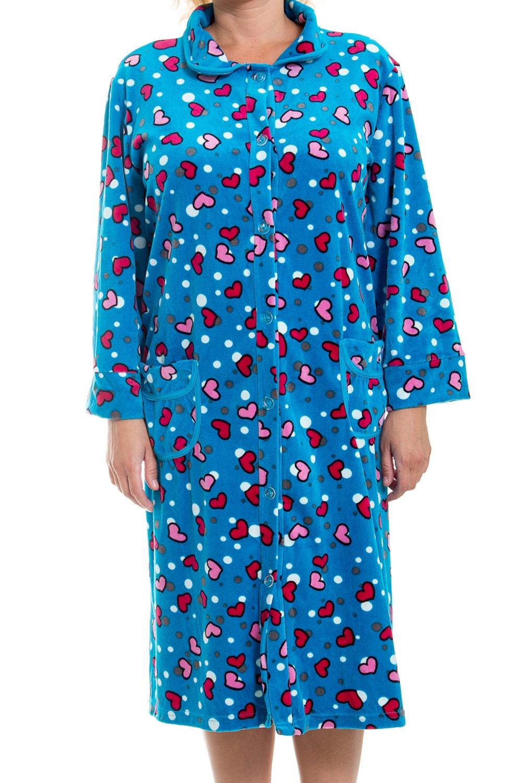 ХалатХалаты<br>Очаровательный женский халат. Домашняя одежда, прежде всего, должна быть удобной, практичной и красивой. В халате Вы будете чувствовать себя комфортно, особенно, по вечерам после трудового дня.  В изделии использованы цвета: синий и др.<br><br>Воротник: Отложной<br>По материалу: Велюровые<br>По рисунку: С принтом (печатью),Цветные<br>По силуэту: Полуприталенные<br>По стилю: Повседневные<br>По элементам: На пуговицах,С карманами<br>Рукав: Длинный рукав<br>По сезону: Всесезон<br>Размер : 56<br>Материал: Велюр<br>Количество в наличии: 1
