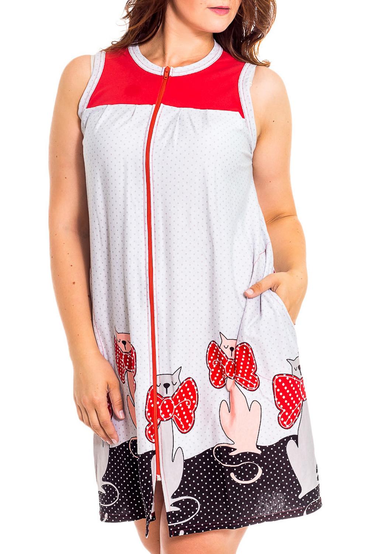 ХалатХалаты<br>Домашний халат без рукавов, с карманами. Застежка - молния. Домашняя одежда, прежде всего, должна быть удобной, практичной и красивой. В халате Вы будете чувствовать себя комфортно, особенно, по вечерам после трудового дня.  В изделии использованы цвета: белый, красный, черный и др.  Рост девушки-фотомодели 180 см<br><br>Горловина: С- горловина<br>По рисунку: Животные мотивы,Цветные,С принтом<br>По силуэту: Полуприталенные<br>По элементам: С карманами,С молнией<br>По сезону: Всесезон<br>Рукав: Без рукавов<br>По материалу: Хлопок<br>Размер : 40<br>Материал: Хлопок<br>Количество в наличии: 1