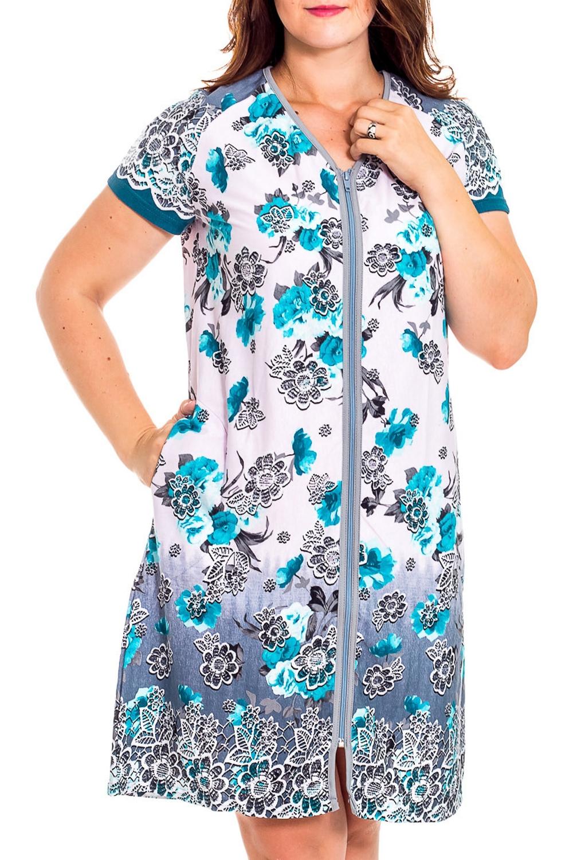 ХалатХалаты<br>Хлопковый халат с короткими рукавами. Домашняя одежда, прежде всего, должна быть удобной, практичной и красивой. В халате Вы будете чувствовать себя комфортно, особенно, по вечерам после трудового дня.  В изделии использовались цвета: белый, серый, голубой  Рост девушки-фотомодели 180 см<br><br>Горловина: V- горловина<br>По материалу: Хлопковые<br>По рисунку: Растительные мотивы,С принтом (печатью),Цветные,Цветочные<br>По силуэту: Полуприталенные<br>По стилю: Повседневные<br>По элементам: С карманами,С молнией<br>Рукав: Короткий рукав<br>По сезону: Всесезон<br>Размер : 46,48,50,56<br>Материал: Хлопок<br>Количество в наличии: 3