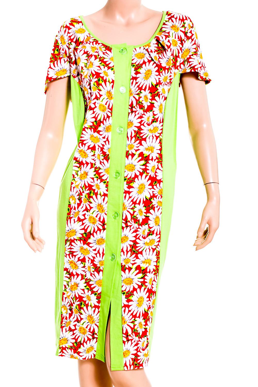 ХалатХалаты<br>Женский халат с короткими рукавам. Домашняя одежда, прежде всего, должна быть удобной, практичной и красивой. В халате Вы будете чувствовать себя комфортно, особенно, по вечерам после трудового дня.  В изделии использованы цвета: салатовый, красный, белый и др.  Рост девушки-фотомодели 170 см<br><br>Горловина: С- горловина<br>По рисунку: Цветные,Цветочные,Растительные мотивы,С принтом<br>По силуэту: Полуприталенные<br>Рукав: Короткий рукав<br>По сезону: Всесезон<br>По элементам: С карманами<br>По материалу: Хлопок<br>По длине: Ниже колена<br>Размер : 60<br>Материал: Хлопок<br>Количество в наличии: 1