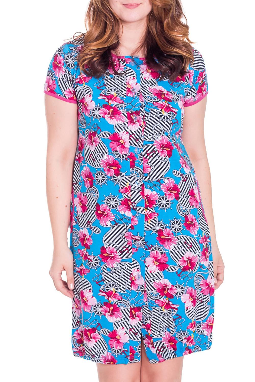 ХалатХалаты<br>Хлопковый халат с застежкой на пуговицы и короткими рукавами. Домашняя одежда, прежде всего, должна быть удобной, практичной и красивой. В халате Вы будете чувствовать себя комфортно, особенно, по вечерам после трудового дня.  Цвет: голубой, белый, розовый  Рост девушки-фотомодели 180 см<br><br>Горловина: С- горловина<br>По рисунку: Растительные мотивы,Цветные,Цветочные,С принтом<br>По силуэту: Полуприталенные<br>По элементам: С карманами<br>По сезону: Осень,Весна<br>Рукав: Короткий рукав<br>По длине: Ниже колена<br>По материалу: Хлопок<br>Размер : 48<br>Материал: Хлопок<br>Количество в наличии: 1