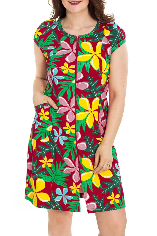 ХалатХалаты<br>Цветной халат с застежкой на молнию. Домашняя одежда, прежде всего, должна быть удобной, практичной и красивой. В наших изделиях Вы будете чувствовать себя комфортно, особенно, по вечерам после трудового дня.  Цвет: красный, желтый, зеленый  Рост девушки-фотомодели 180 см<br><br>Горловина: С- горловина<br>По рисунку: Растительные мотивы,Цветные,Цветочные,С принтом<br>По силуэту: Полуприталенные<br>По элементам: С карманами,С молнией<br>Рукав: Короткий рукав<br>По сезону: Всесезон<br>По длине: Ниже колена<br>По материалу: Трикотаж,Хлопок<br>Размер : 46,48,50,52,54,56<br>Материал: Трикотаж<br>Количество в наличии: 115
