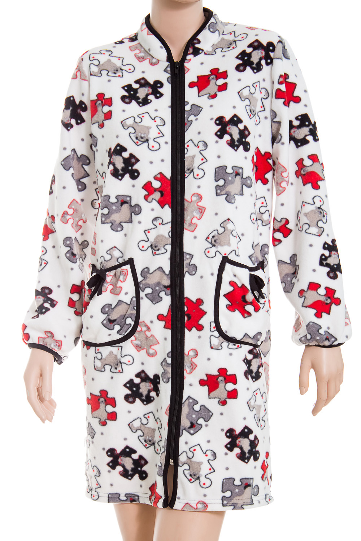 ХалатХалаты<br>Женский халат с застежкой на молнию. Домашняя одежда, прежде всего, должна быть удобной, практичной и красивой. В халате Вы будете чувствовать себя комфортно, особенно, по вечерам после трудового дня.  В изделии использованы цвета: белый, серый, красный  Ростовка изделия 170 см.<br><br>Воротник: Стойка<br>По рисунку: Цветные,С принтом<br>По силуэту: Полуприталенные<br>По элементам: С карманами,С молнией<br>Рукав: Длинный рукав<br>По сезону: Всесезон<br>По материалу: Хлопок<br>По длине: До колена<br>Размер : 48<br>Материал: Флис<br>Количество в наличии: 1