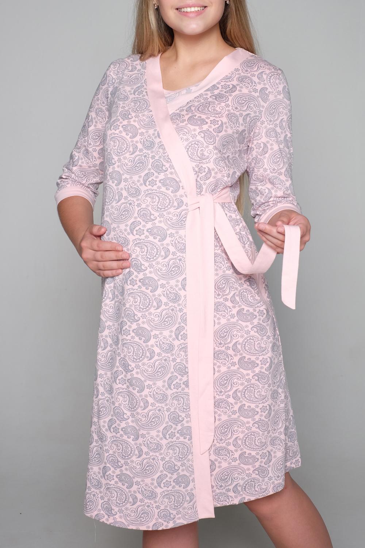 ХалатОдежда для дома<br>Халат выполнен из мягкого хлопка. Можно носить с большим животиком и после родов.  Халат без ночной сорочки.  За счет свободного кроя и эластичного материала изделие можно носить во время беременности  В изделии использованы цвета: розовый и др.  Ростовка изделия 170 см.<br><br>Горловина: V- горловина,Запах<br>По длине: Ниже колена<br>По материалу: Хлопок<br>По рисунку: С принтом,Цветные<br>По силуэту: Приталенные<br>Рукав: Рукав три четверти<br>По сезону: Всесезон<br>Размер : 44,46,50<br>Материал: Хлопок<br>Количество в наличии: 3