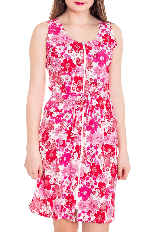 ХалатХалаты<br>Цветной халат с застежкой на молнию. Домашняя одежда, прежде всего, должна быть удобной, практичной и красивой. В наших изделиях Вы будете чувствовать себя комфортно, особенно, по вечерам после трудового дня.  Цвет: белый, розовый  Рост девушки-фотомодели 180 см<br><br>Горловина: С- горловина<br>По рисунку: Растительные мотивы,Цветные,Цветочные,С принтом<br>По силуэту: Полуприталенные<br>По элементам: С карманами,С молнией<br>По сезону: Всесезон<br>По длине: Ниже колена<br>Рукав: Без рукавов<br>По материалу: Трикотаж,Хлопок<br>Размер : 42,44,46,48,50,52<br>Материал: Трикотаж<br>Количество в наличии: 91