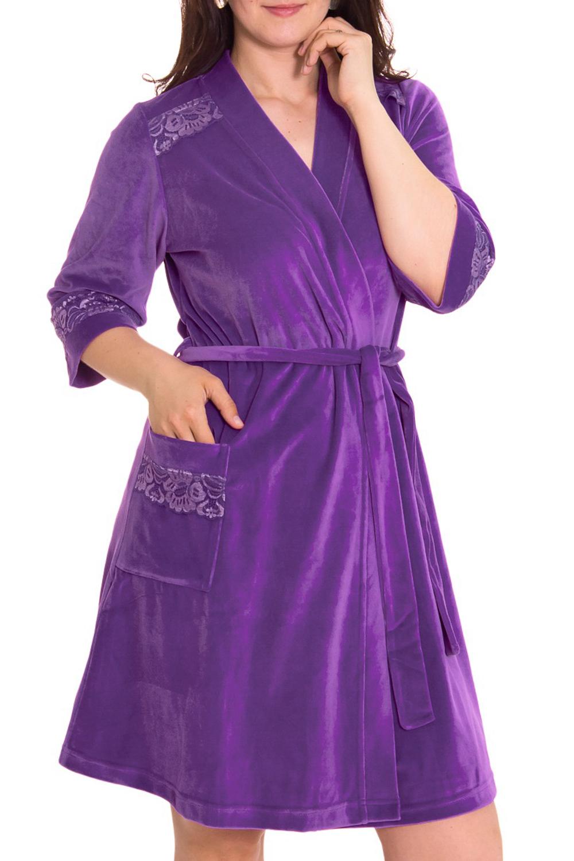 ХалатХалаты<br>Халат на запах, полуприлегающего силуэта, расширенный к низу, длиной до колена. Борта обработаны планкой. На правой полочке халата накладной карман. Рукав втачной, длиной 7/8. Низ рукава, вход в карман, полочки, в области плеча отделаны кружевом. Пояс в комплект не входит  Цвет: фиолетовый  Рост девушки-фотомодели 180 см<br><br>Горловина: V- горловина,Запах<br>По рисунку: Однотонные<br>По силуэту: Полуприталенные<br>По элементам: С декором,С карманами<br>Рукав: Рукав три четверти<br>По сезону: Осень,Весна<br>По материалу: Велюр,Хлопок<br>По длине: Ниже колена<br>Размер : 50<br>Материал: Велюр<br>Количество в наличии: 1