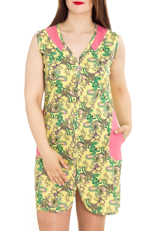 ХалатХалаты<br>Хлопковый халат с застежкой на молнию. Домашняя одежда, прежде всего, должна быть удобной, практичной и красивой. В халате Вы будете чувствовать себя комфортно, особенно, по вечерам после трудового дня.  Цвет: желтый, зеленый, розовый  Рост девушки-фотомодели 180 см<br><br>Горловина: V- горловина<br>По рисунку: Цветные,С принтом<br>По силуэту: Полуприталенные<br>По элементам: С карманами,С молнией<br>По сезону: Всесезон<br>По длине: Ниже колена<br>Рукав: Без рукавов<br>По материалу: Трикотаж,Хлопок<br>Размер : 46-48<br>Материал: Хлопок<br>Количество в наличии: 1