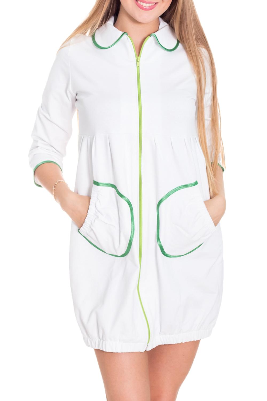 ХалатХалаты<br>Трикотажный халат с застежкой на молнию. Домашняя одежда, прежде всего, должна быть удобной, практичной и красивой. В нашей домашней одежде Вы будете чувствовать себя комфортно, особенно, по вечерам после трудового дня.  Цвет: белый, зеленый  Рост девушки-фотомодели 170 см.<br><br>Воротник: Отложной<br>По рисунку: Однотонные<br>По элементам: С карманами,С молнией<br>Рукав: Рукав три четверти<br>По сезону: Всесезон<br>По длине: До колена<br>По материалу: Трикотаж,Хлопок<br>Размер : 42-44<br>Материал: Трикотаж<br>Количество в наличии: 2
