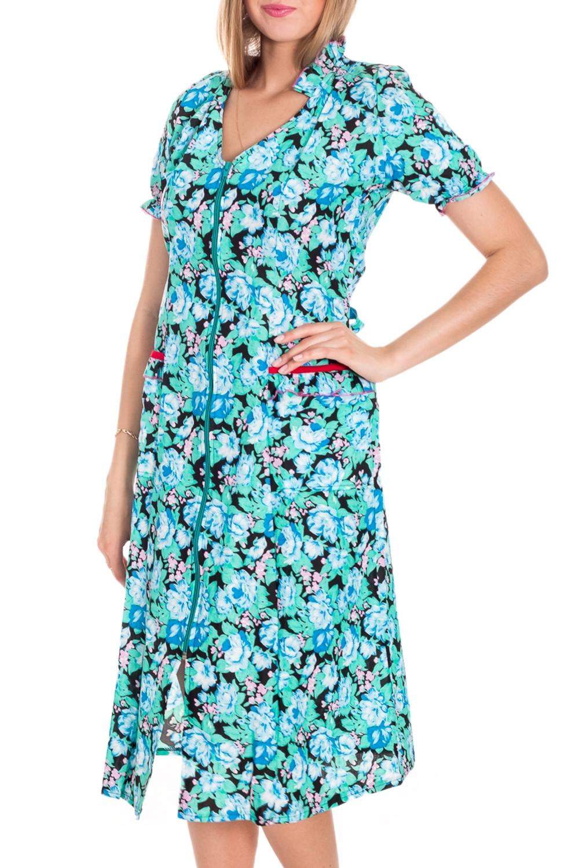 ХалатХалаты<br>Хлопковый халат с застежкой на молнию. Домашняя одежда, прежде всего, должна быть удобной, практичной и красивой. В нашей домашней одежде Вы будете чувствовать себя комфортно, особенно, по вечерам после трудового дня.  Цвет: голубой, черный  Рост девушки-фотомодели 170 см.<br><br>Горловина: V- горловина<br>По рисунку: Растительные мотивы,Цветные,Цветочные,С принтом<br>По элементам: С карманами,С молнией<br>Рукав: Короткий рукав,До локтя<br>По сезону: Всесезон<br>По длине: Ниже колена<br>По материалу: Хлопок<br>Размер : 42-44<br>Материал: Бязь<br>Количество в наличии: 1