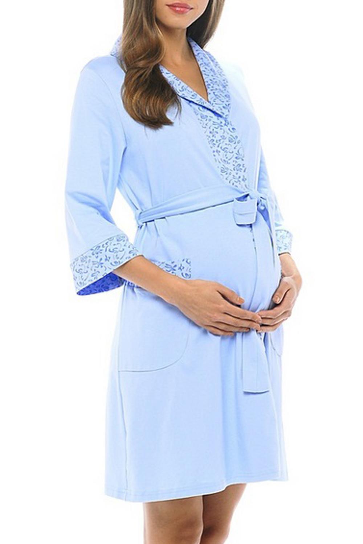 ХалатОдежда для дома<br>Халат выполнен из мягкого трикотажа. Можно носить с большим животиком и после родов.  Халат без пояса.  За счет свободного кроя и эластичного материала изделие можно носить во время беременности  Цвет: голубой  Ростовка изделия 170 см.<br><br>Горловина: V- горловина,Запах<br>По длине: До колена<br>По материалу: Хлопок<br>По рисунку: Однотонные,С принтом,Цветные<br>По силуэту: Приталенные<br>Рукав: Рукав три четверти<br>По сезону: Всесезон<br>Размер : 42,44,46,50<br>Материал: Трикотаж<br>Количество в наличии: 4