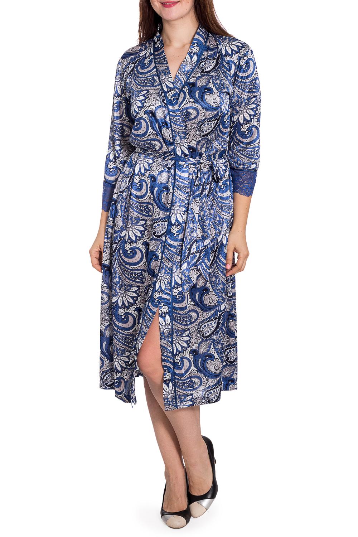 КимоноХалаты<br>Длинный халат выполнен из принтованного трикотажного шелка. Низ рукавов декорирован синим кружевом.  Халат без пояса.  В изделии использованы цвета: синий, белый и др.  Рост девушки-фотомодели 180 см.<br><br>Горловина: V- горловина,Запах<br>По длине: Ниже колена<br>По материалу: Шелк<br>По рисунку: С принтом,Цветные,Этнические<br>По силуэту: Полуприталенные<br>По элементам: С декором<br>Рукав: Рукав три четверти<br>По сезону: Всесезон<br>Размер : 48-50<br>Материал: Искусственный шелк<br>Количество в наличии: 2
