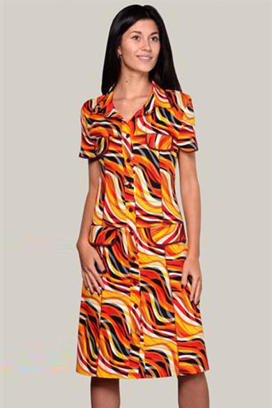 ХалатХалаты<br>Замечательный хлопковый халат с карманами. Застежка на пуговицы. Домашняя одежда, прежде всего, должна быть удобной, практичной и красивой. В наших изделиях Вы будете чувствовать себя комфортно, особенно, по вечерам после трудового дня. Цвет: оранжевый, желтый, черный, белый.<br><br>Воротник: Рубашечный<br>По рисунку: Цветные,С принтом<br>По силуэту: Полуприталенные<br>По элементам: С карманами<br>Рукав: Короткий рукав<br>По сезону: Всесезон<br>По длине: Ниже колена<br>По материалу: Трикотаж,Хлопок<br>Размер : 46,48,50,54,58<br>Материал: Трикотаж<br>Количество в наличии: 5