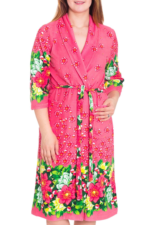 ХалатХалаты<br>Женский халат на запах. Домашняя одежда, прежде всего, должна быть удобной, практичной и красивой. В халате Вы будете чувствовать себя комфортно, особенно, по вечерам после трудового дня. Пояс в комплект не входит  Цвет: розовый, зеленый  Рост девушки-фотомодели 180 см<br><br>Воротник: Шалька<br>Горловина: V- горловина,Запах<br>По длине: Миди<br>По материалу: Махровые,Трикотаж,Хлопок<br>По рисунку: Растительные мотивы,Цветные,Цветочные,С принтом<br>По элементам: С карманами<br>Рукав: Рукав три четверти<br>По сезону: Осень,Весна<br>Размер : 50,52,54<br>Материал: Махровое полотно<br>Количество в наличии: 6