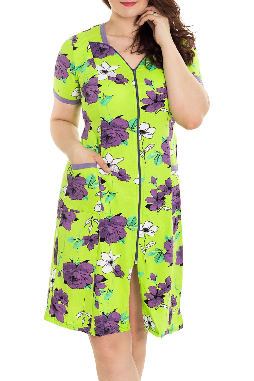 ХалатХалаты<br>Цветной халат с застежкой на молнию. Домашняя одежда, прежде всего, должна быть удобной, практичной и красивой. В наших изделиях Вы будете чувствовать себя комфортно, особенно, по вечерам после трудового дня. Халат без пояса.  Цвет: салатовый, фиолетовый  Рост девушки-фотомодели 180 см<br><br>По рисунку: Растительные мотивы,Цветные,Цветочные,С принтом<br>По силуэту: Полуприталенные<br>По элементам: С карманами,С молнией<br>Рукав: Короткий рукав<br>По сезону: Всесезон<br>По длине: Ниже колена<br>По материалу: Трикотаж,Хлопок<br>Размер : 46,48,50<br>Материал: Трикотаж<br>Количество в наличии: 21