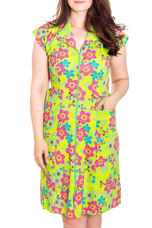ХалатХалаты<br>Цветной халат с застежкой на молнию. Домашняя одежда, прежде всего, должна быть удобной, практичной и красивой. В наших изделиях Вы будете чувствовать себя комфортно, особенно, по вечерам после трудового дня.  Цвет: желтый, зеленый, розовый  Рост девушки-фотомодели 180 см<br><br>Горловина: С- горловина<br>По рисунку: Цветные,Растительные мотивы,Цветочные,С принтом<br>По элементам: С карманами,С молнией<br>По сезону: Всесезон<br>Воротник: Отложной<br>По длине: Ниже колена<br>Рукав: Без рукавов<br>По материалу: Трикотаж<br>Размер : 46-48<br>Материал: Трикотаж<br>Количество в наличии: 1