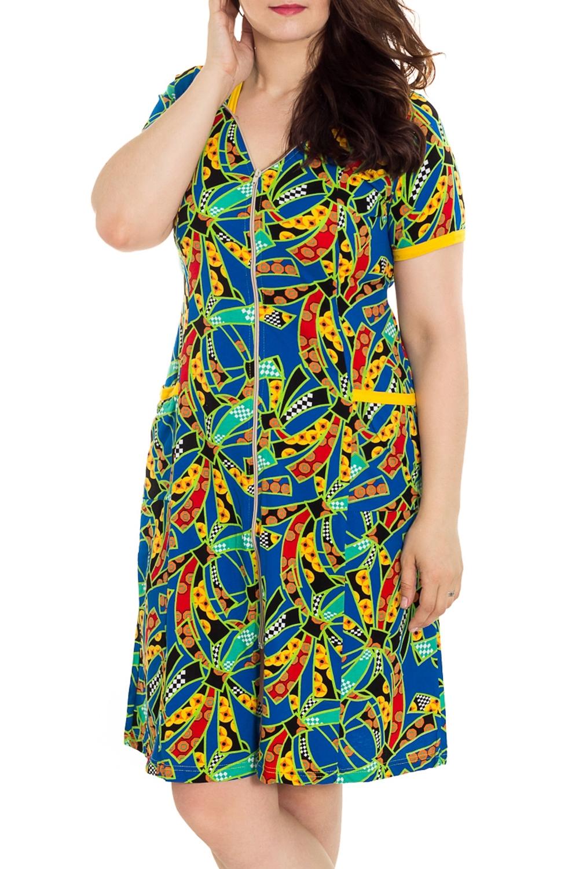 ХалатХалаты<br>Цветной халат с застежкой на молнию. Домашняя одежда, прежде всего, должна быть удобной, практичной и красивой. В наших изделиях Вы будете чувствовать себя комфортно, особенно, по вечерам после трудового дня. Халат без пояса.  Цвет: синий, мультицвет  Рост девушки-фотомодели 180 см<br><br>Горловина: V- горловина<br>По рисунку: Цветные,С принтом<br>По силуэту: Полуприталенные<br>По элементам: С карманами,С молнией<br>Рукав: Короткий рукав<br>По сезону: Всесезон<br>По длине: Ниже колена<br>По материалу: Трикотаж,Хлопок<br>Размер : 48<br>Материал: Трикотаж<br>Количество в наличии: 20