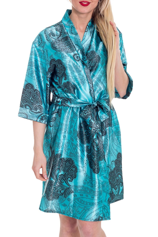 ХалатХалаты<br>Халат из набивного атласа. Отделка из цветного атласа. Домашняя одежда, прежде всего, должна быть удобной, практичной и красивой. В нашей домашней одежде Вы будете чувствовать себя комфортно, особенно, по вечерам после трудового дня.  Пояс в комплект не входит  Цвет: голубой, синий  Рост девушки-фотомодели 170 см.<br><br>Горловина: V- горловина,Запах<br>По рисунку: Цветные,Этнические,С принтом<br>По силуэту: Полуприталенные<br>По элементам: С запахом<br>Рукав: Рукав три четверти<br>По сезону: Всесезон<br>По материалу: Атлас<br>По длине: До колена<br>Размер : 46-48,50-52<br>Материал: Атлас<br>Количество в наличии: 2