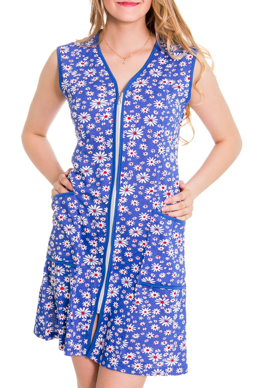 ХалатХалаты<br>Домашний халат из хлопкового материала. Домашняя одежда, прежде всего, должна быть удобной, практичной и красивой. В наших изделиях Вы будете чувствовать себя комфортно, особенно, по вечерам после трудового дня.  Цвет: голубой, белый, розовый  Рост девушки-фотомодели 176 см<br><br>Горловина: V- горловина<br>По длине: Миди<br>По рисунку: Растительные мотивы,Цветные,Цветочные,С принтом<br>По сезону: Лето<br>По элементам: С карманами<br>Рукав: Без рукавов<br>По материалу: Трикотаж,Хлопок<br>Размер : 42<br>Материал: Хлопок<br>Количество в наличии: 1