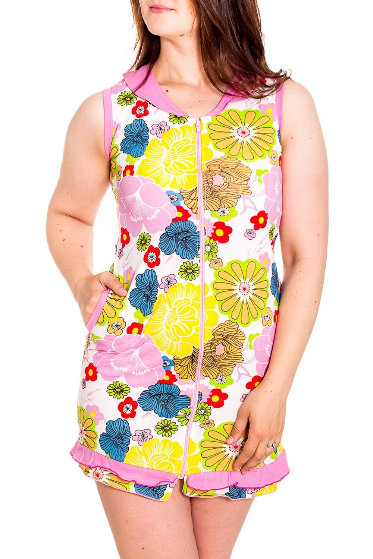 ХалатХалаты<br>Цветной халат с застежкой на молнию. Домашняя одежда, прежде всего, должна быть удобной, практичной и красивой. В наших изделиях Вы будете чувствовать себя комфортно, особенно, по вечерам после трудового дня.  Цвет: белый, розовый, желтый и др.  Рост девушки-фотомодели 180 см<br><br>Горловина: С- горловина<br>По рисунку: Цветные,Цветочные,Растительные мотивы,С принтом<br>По силуэту: Полуприталенные<br>По элементам: С карманами,С молнией<br>По сезону: Всесезон<br>По длине: До колена<br>Рукав: Без рукавов<br>По материалу: Хлопок<br>Размер : 46-48<br>Материал: Хлопок<br>Количество в наличии: 1