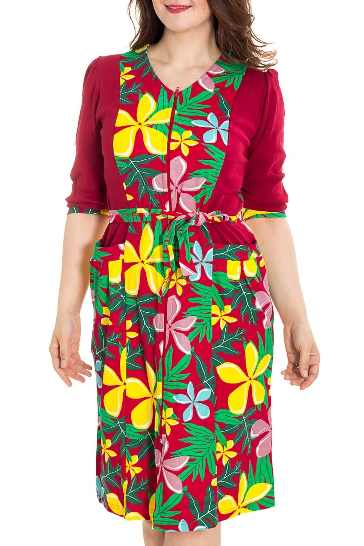 ХалатХалаты<br>Цветной халат с застежкой на молнию. Домашняя одежда, прежде всего, должна быть удобной, практичной и красивой. В наших изделиях Вы будете чувствовать себя комфортно, особенно, по вечерам после трудового дня. Халат без пояса.  Цвет: красный, желтый, зеленый  Рост девушки-фотомодели 180 см<br><br>По рисунку: Растительные мотивы,Цветные,Цветочные,С принтом<br>По силуэту: Полуприталенные<br>По элементам: С карманами,С молнией<br>Рукав: Рукав три четверти<br>По сезону: Всесезон<br>Горловина: V- горловина<br>По длине: Ниже колена<br>По материалу: Трикотаж,Хлопок<br>Размер : 46,48,50,52,54,56<br>Материал: Трикотаж<br>Количество в наличии: 66