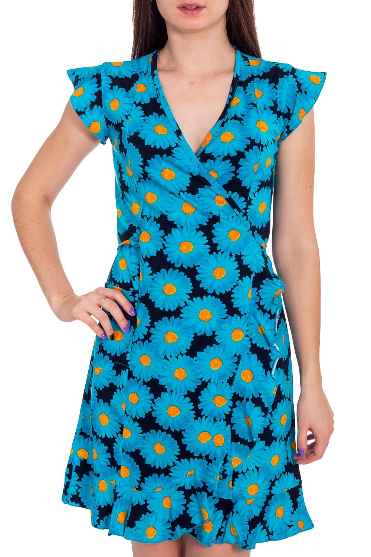 ХалатХалаты<br>Хлопковый халат на запах. Домашняя одежда, прежде всего, должна быть удобной, практичной и красивой. В наших изделиях Вы будете чувствовать себя комфортно, особенно, по вечерам после трудового дня.  В изделии использованы цвета: голубой, синий и др.  Рост девушки-фотомодели 173 см<br><br>Горловина: V- горловина,Запах<br>По длине: До колена<br>По материалу: Хлопок<br>По рисунку: Растительные мотивы,С принтом,Цветные,Цветочные<br>По силуэту: Полуприталенные<br>Рукав: Короткий рукав<br>По сезону: Всесезон<br>Размер : 42,44<br>Материал: Хлопок<br>Количество в наличии: 2