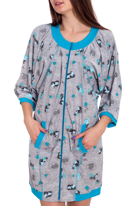 ХалатХалаты<br>Хлопковый халат с застежкой на молнию. Домашняя одежда, прежде всего, должна быть удобной, практичной и красивой. В наших изделиях Вы будете чувствовать себя комфортно, особенно, по вечерам после трудового дня.  В изделии использованы цвета: серый, голубой  Рост девушки-фотомодели 173 см<br><br>Горловина: С- горловина<br>По длине: До колена<br>По материалу: Трикотаж,Хлопок<br>По рисунку: С принтом,Цветные<br>По силуэту: Свободные<br>По элементам: С карманами,С манжетами,С молнией<br>Рукав: Рукав три четверти<br>По сезону: Осень,Весна<br>Размер : 44,46<br>Материал: Трикотаж<br>Количество в наличии: 2