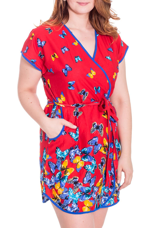 ХалатХалаты<br>Хлопковый халат на запах с короткими рукавами. Домашняя одежда, прежде всего, должна быть удобной, практичной и красивой. В халате Вы будете чувствовать себя комфортно, особенно, по вечерам после трудового дня.  Цвет: красный, мультицвет  Рост девушки-фотомодели 180 см<br><br>Горловина: V- горловина,Запах<br>По рисунку: Бабочки,Цветные<br>По силуэту: Полуприталенные<br>По элементам: С запахом,С карманами,С поясом<br>Рукав: Короткий рукав<br>По сезону: Осень,Весна<br>По длине: До колена<br>По материалу: Хлопок<br>Размер : 48<br>Материал: Хлопок<br>Количество в наличии: 1