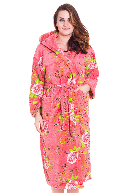 ХалатХалаты<br>Женский халат с капюшоном и длинным рукавом. Модель с поясом. Домашняя одежда, прежде всего, должна быть удобной, практичной и красивой. В халате Вы будете чувствовать себя комфортно, особенно, по вечерам после трудового дня.  Цвет: коралловый, розовый, белый, зеленый  Рост девушки-фотомодели 180 см.<br><br>По стилю: Повседневные<br>По материалу: Велсофт<br>По рисунку: Растительные мотивы,Цветные,Цветочные<br>По сезону: Зима<br>По элементам: С капюшоном,С карманами,С поясом<br>По длине: Удлиненные<br>Рукав: Длинный рукав<br>Горловина: Запах<br>Размер: 54<br>Материал: 100% полиэстер<br>Количество в наличии: 1