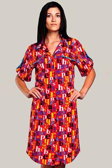 ХалатХалаты<br>Трикотажный халат - самый популярный домашний халат. Легкий, удобный, качественный, на любую фигуру и на любой вкус  Халат с застежкой на пуговицы. Силуэт - прямой. Воротник - отложной, с лацканами. Спереди - нагрудные накладные карманы с клапанами. Рукава - рубашечные, с отложными манжетами, зафиксированными хлястиками и пуговицами. Длина рукава увеличивается при расстегивании хлястиков. Край воротника, клапанов, хлястиков обработаны отделочными вставками.  Длина халата 100 см.  Цвет: красный, мультицвет<br><br>Воротник: Отложной<br>Горловина: V- горловина<br>По рисунку: Абстракция,Цветные,С принтом<br>По силуэту: Полуприталенные<br>По сезону: Осень,Весна<br>Рукав: Короткий рукав<br>По длине: Ниже колена<br>По материалу: Трикотаж,Хлопок<br>Размер : 46,48,50<br>Материал: Трикотаж<br>Количество в наличии: 3