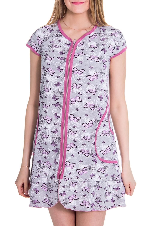 ХалатХалаты<br>Женский халат с коротким рукавом. Домашняя одежда, прежде всего, должна быть удобной, практичной и красивой. В халате Вы будете чувствовать себя комфортно, особенно, по вечерам после трудового дня.  Цвет: серый, сиреневый  Рост девушки-фотомодели 176 см<br><br>Горловина: С- горловина<br>По рисунку: Цветные,Бабочки,С принтом<br>По силуэту: Полуприталенные<br>По элементам: С карманами,С молнией<br>Рукав: Короткий рукав<br>По сезону: Лето<br>По материалу: Хлопок<br>По длине: До колена<br>Размер : 42<br>Материал: Хлопок<br>Количество в наличии: 1
