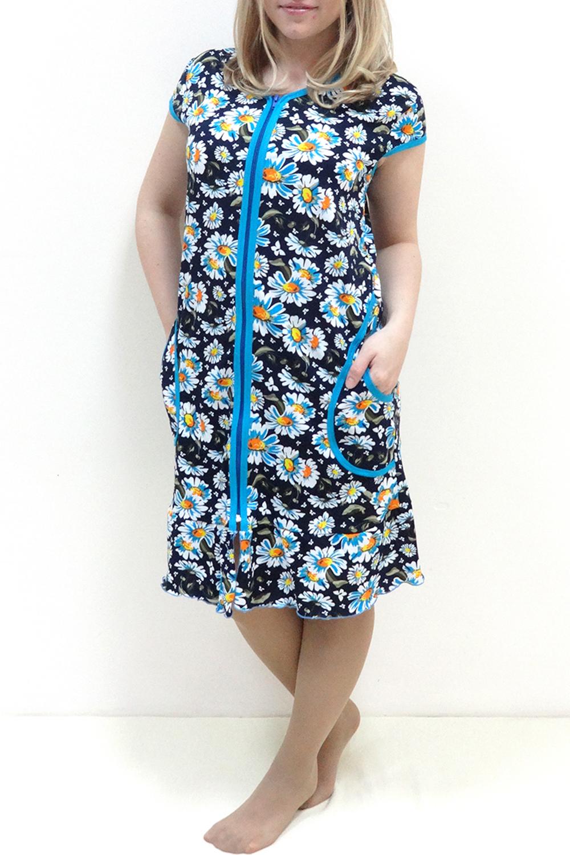 ХалатХалаты<br>Женский хлопковый халат с коротким рукавом. Домашняя одежда, прежде всего, должна быть удобной, практичной и красивой. В халате Вы будете чувствовать себя комфортно, особенно, по вечерам после трудового дня.  Цвет: синий, голубой, желтый, белый<br><br>По рисунку: Растительные мотивы,Цветные,Цветочные,С принтом<br>По элементам: С карманами,С молнией<br>Рукав: Короткий рукав<br>По сезону: Осень,Весна<br>По материалу: Хлопок<br>Горловина: С- горловина<br>По длине: Ниже колена<br>По силуэту: Полуприталенные<br>Размер : 42<br>Материал: Хлопок<br>Количество в наличии: 1