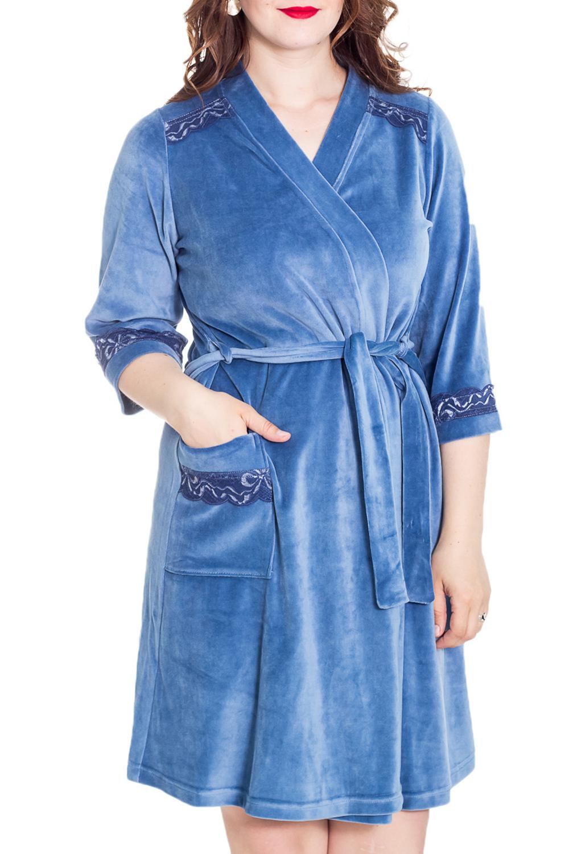 ХалатХалаты<br>Женский домашний халат с запахом. Домашняя одежда, прежде всего, должна быть удобной, практичной и красивой. В нашей домашней одежде Вы будете чувствовать себя комфортно, особенно, по вечерам после трудового дня.  Цвет: синий  Рост девушки-фотомодели 180 см<br><br>Горловина: Запах<br>По рисунку: Однотонные<br>По элементам: С запахом<br>Рукав: Рукав три четверти<br>По сезону: Всесезон<br>По материалу: Велюр<br>Размер : 50<br>Материал: Велюр<br>Количество в наличии: 1